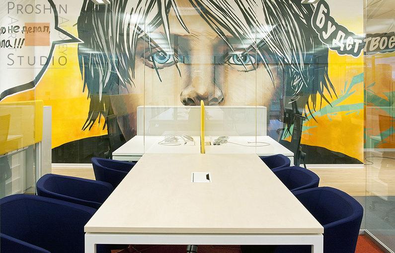 роспись стен офиса банка, граффити на стенах офиса