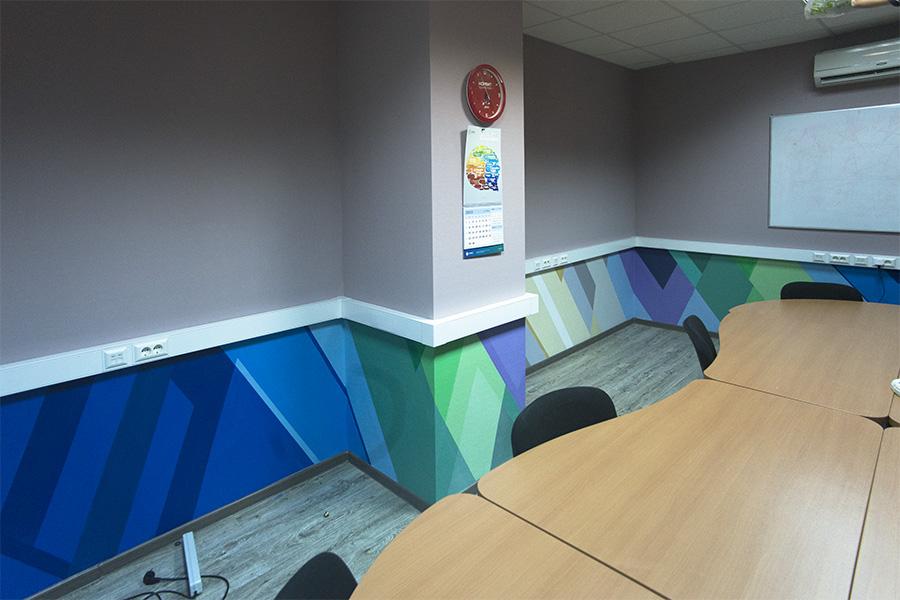 графика в переговорной, роспись стен в переговорной офиса