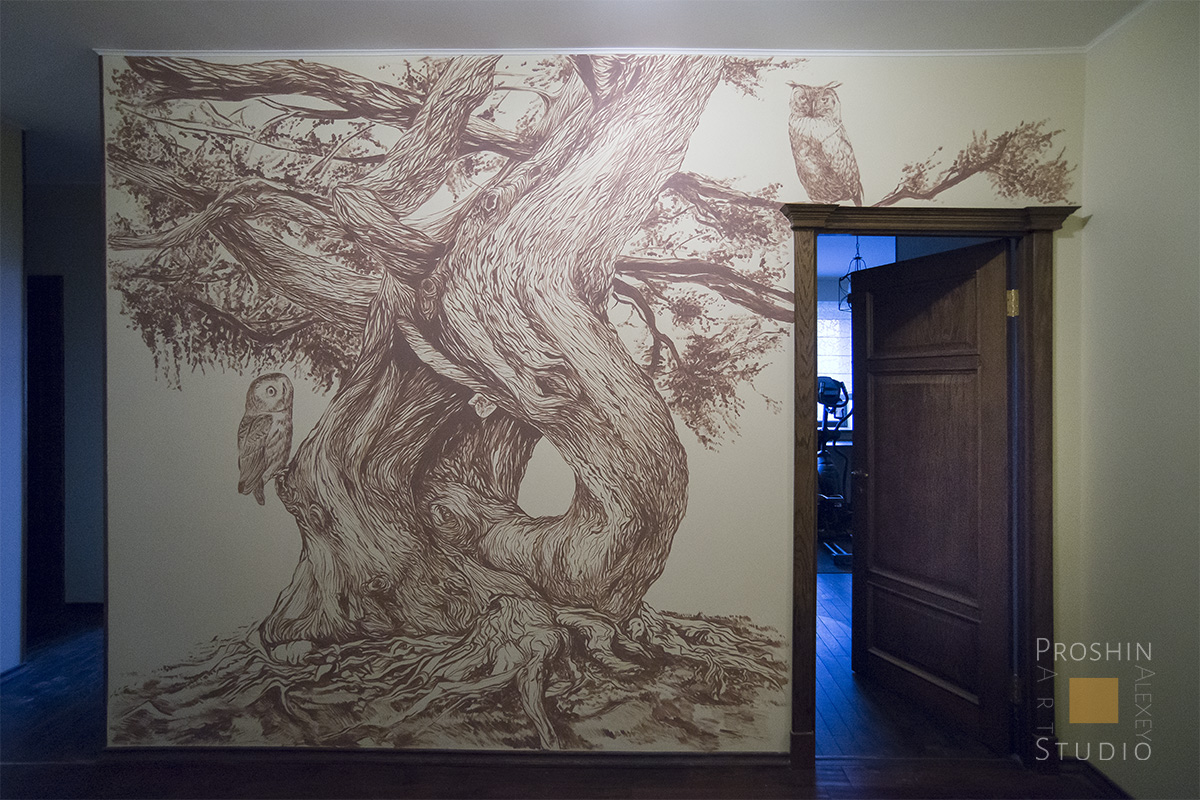 роспись стен в квартире, графика на стенах квартиры