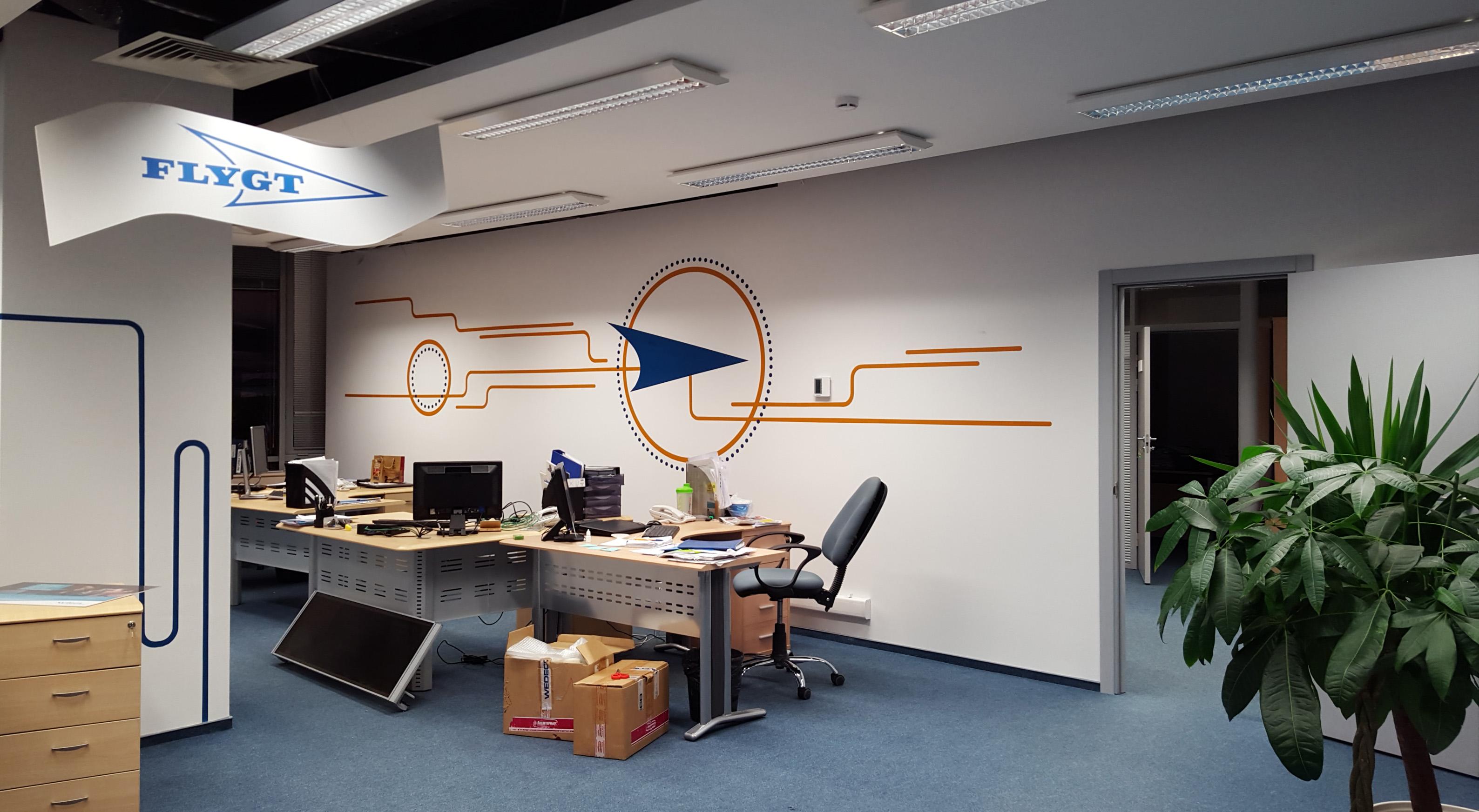 оформление стен офиса, фирменный стиль в оформлении интерьера