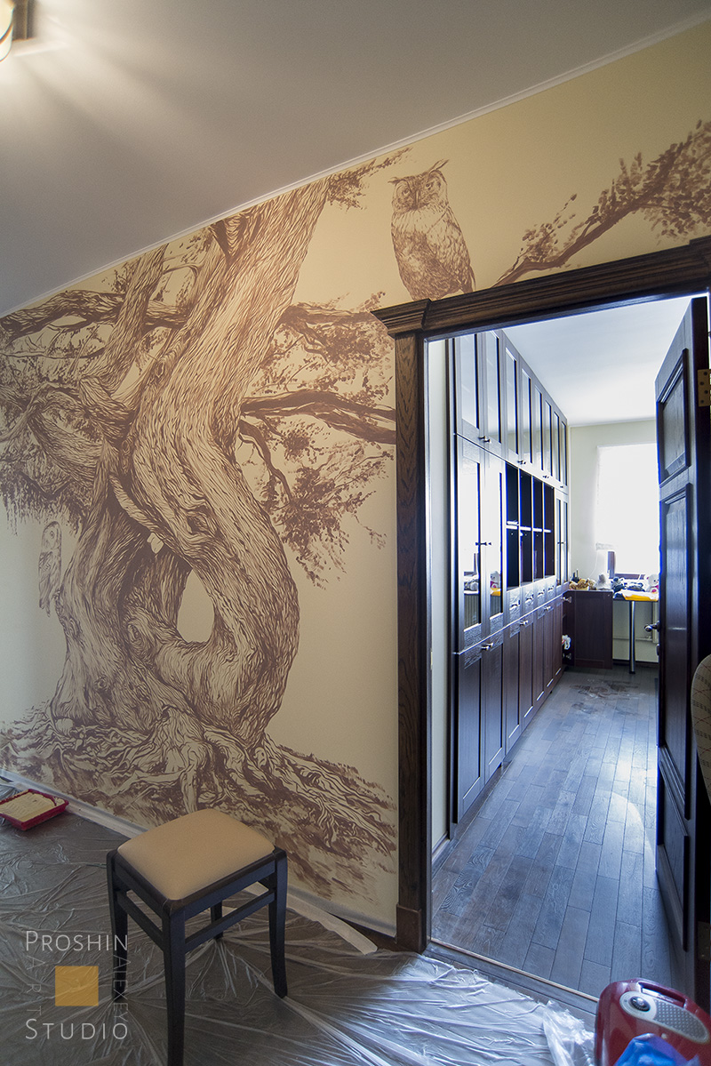 роспись стен в квартире дерево. Монохромная графика в квартире