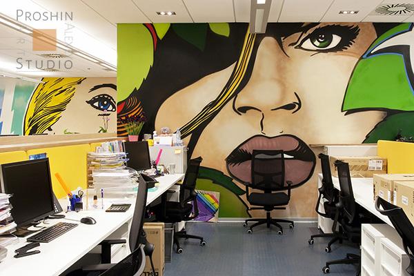 граффити в офисе, роспись стены в офисе