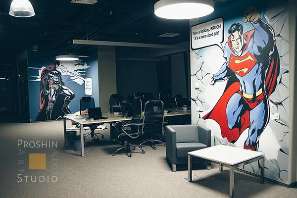 граффити супермэн на стенах офиса