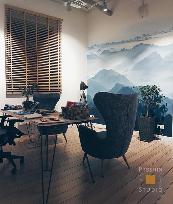 роспись стен горы, роспись стен в офисе