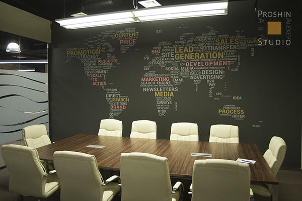 роспись стен в офисе, карта мира из слов