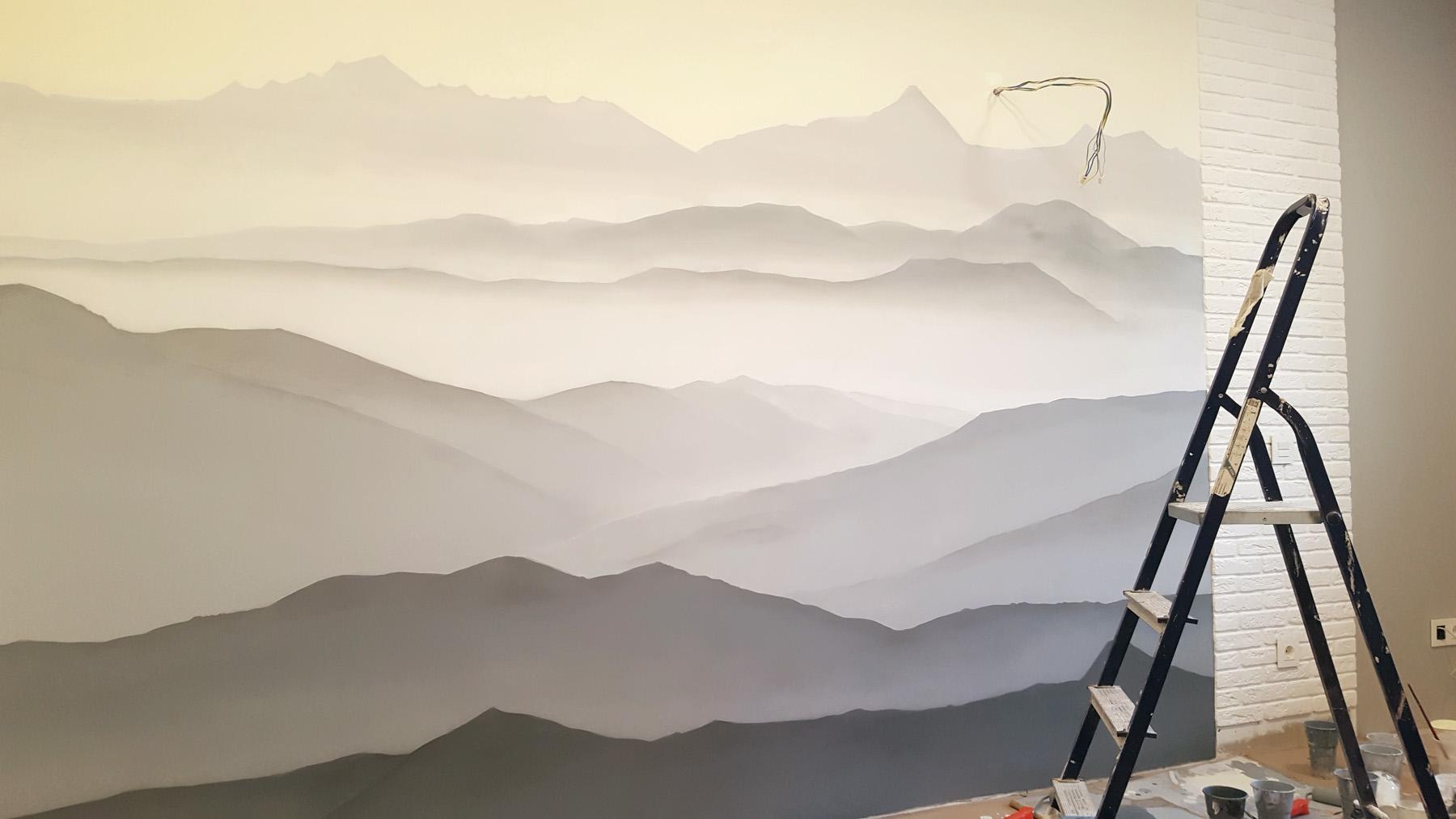 роспись стен горы в детской